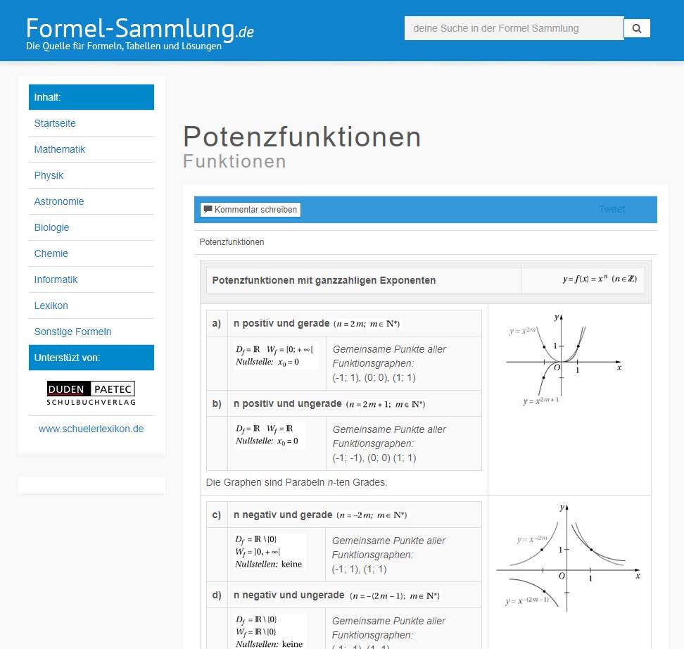 website formelsammlung online