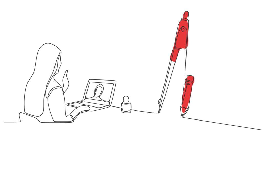 Illustration in Liniendesign, Frau schaut auf Notebook